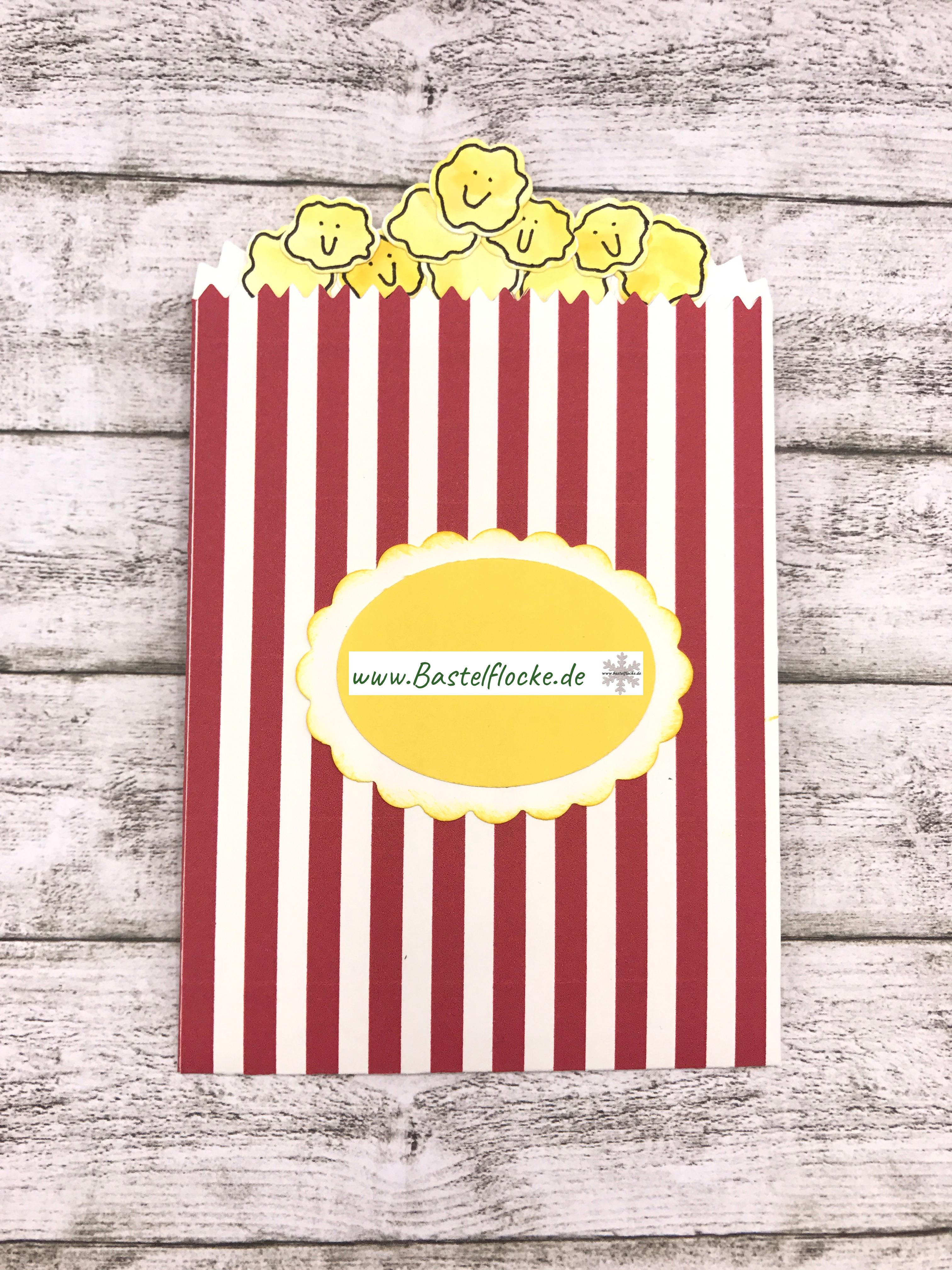 Popcorn-Einladungskarte | Bastelflocke