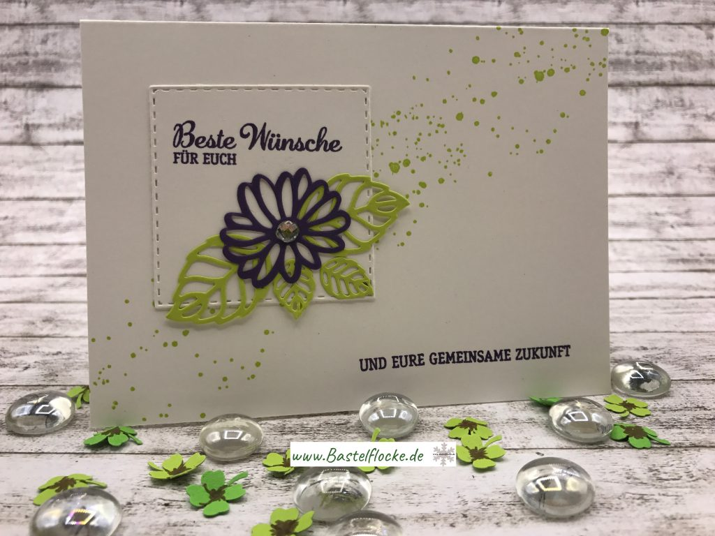Hochzeitskarte in lila und gr n bastelflocke for Lila und grun mischen